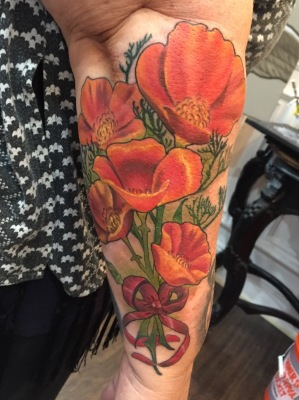 poppies, california, tattoo, california tattoo, bouquet, flower tattoo