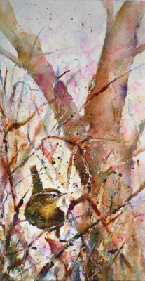watercolor painting of a bird balancing on two fronds of sedge grass