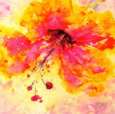 watercolor painting of a bright pink and yellow hibiscus flower