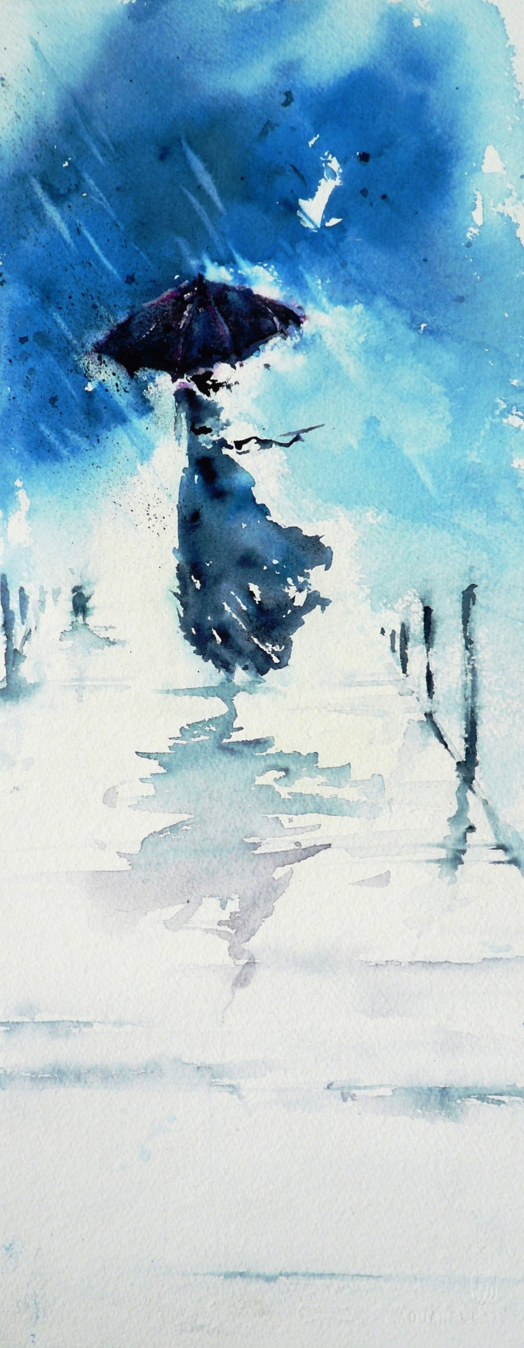 watercolor painting of a woman running ahead of you with an umbrella in the rain