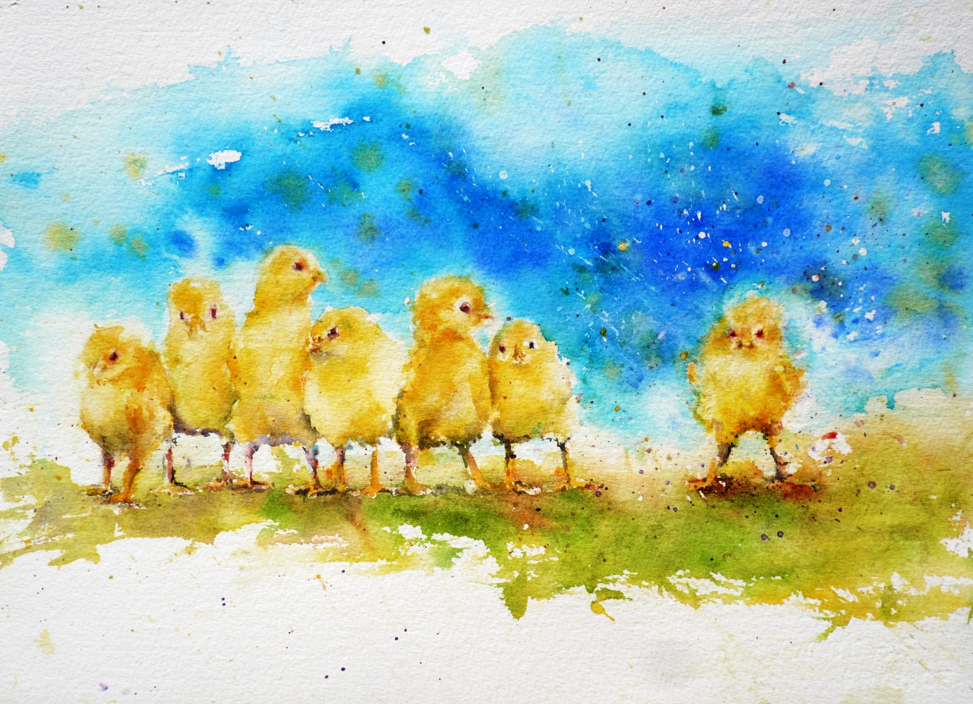 watercolor painting of six yellow chicks packed together in a line looking at another yellow chick throwing a fit