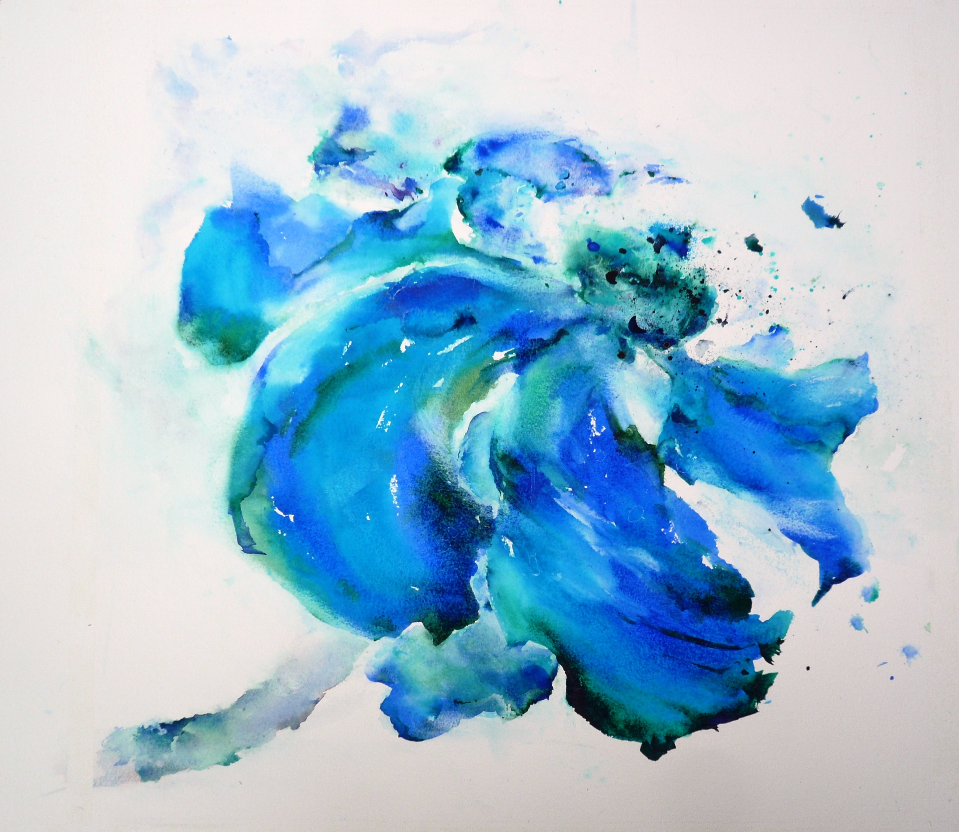 watercolor painting of a large windblown blue and green flower with broad petals containing ocean floor scenery inside them