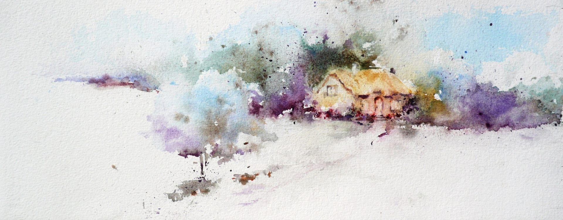 watercolor painting of a far off cottage tucked into a woods of leafless trees in winter