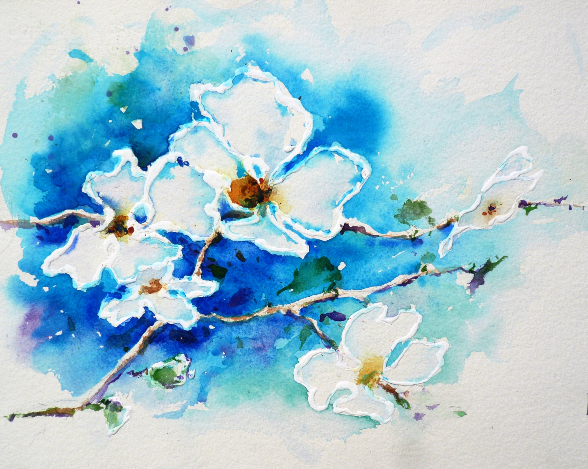 watercolor painting of four white Dogwood flowers on a bright blue background