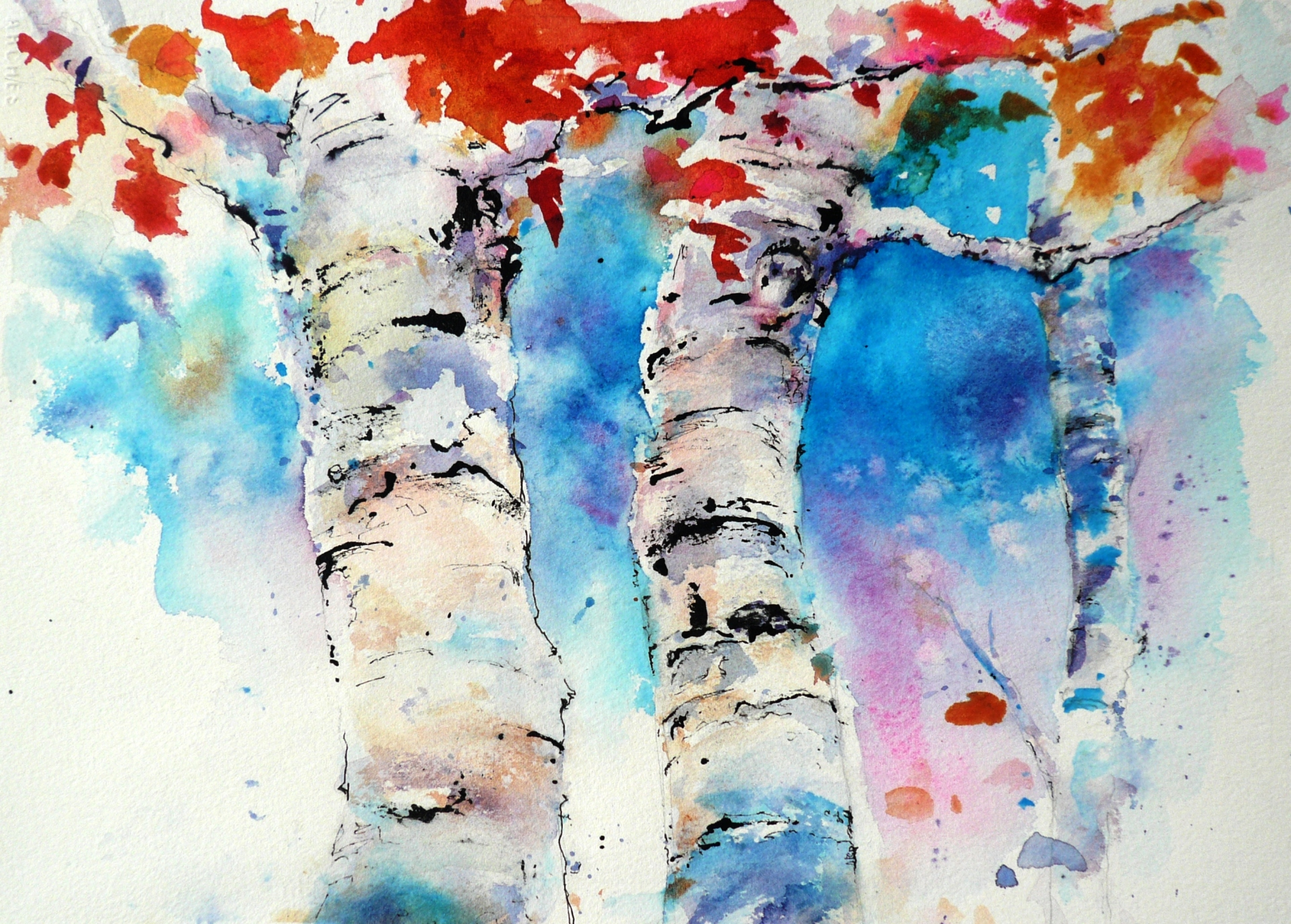 watercolor painting of three birch tree trunks