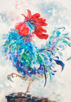 watercolor painting of a blue and green rooster standing on one leg with its head thrown back crowing