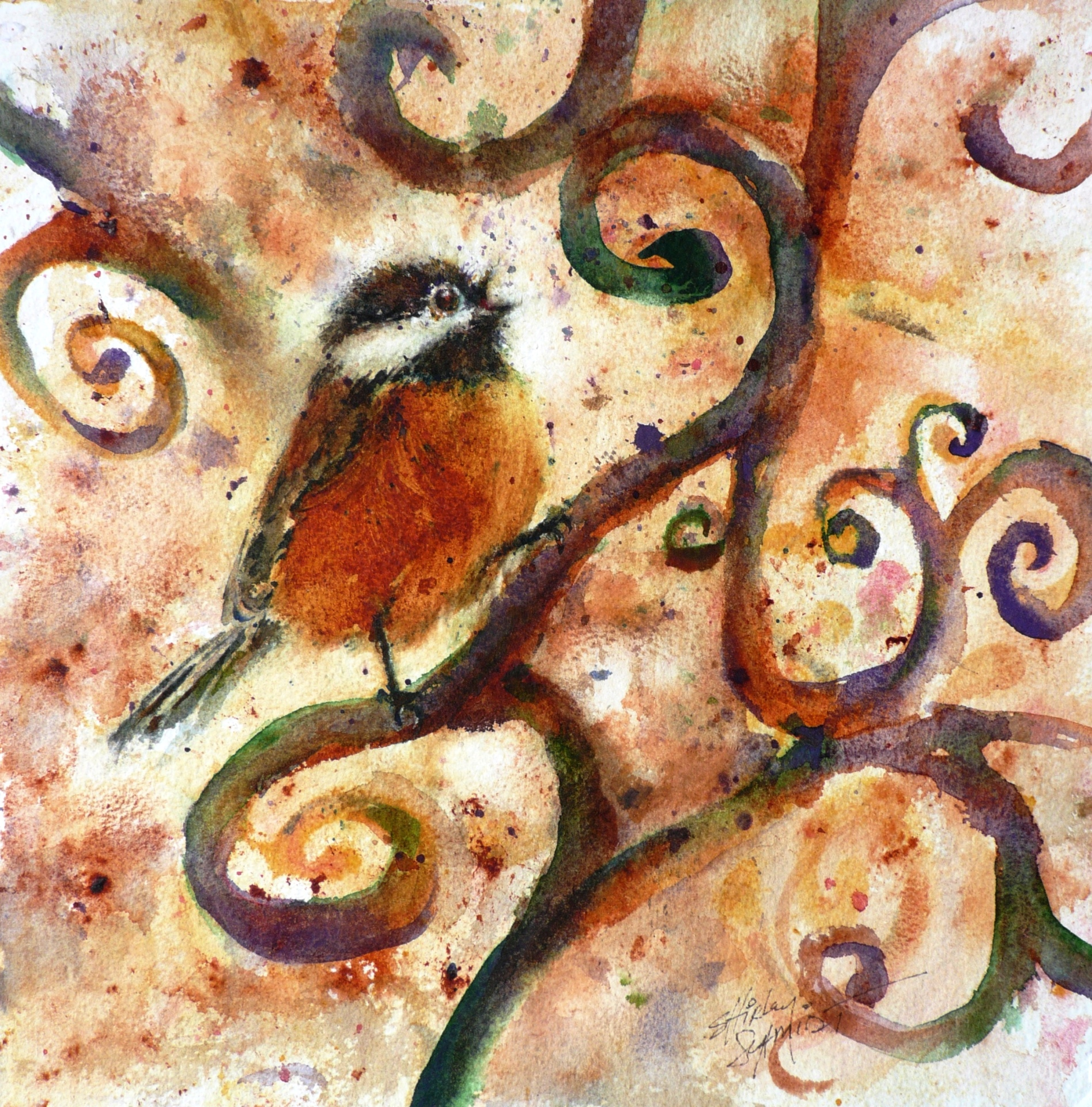 watercolor painting of a chickadee singing