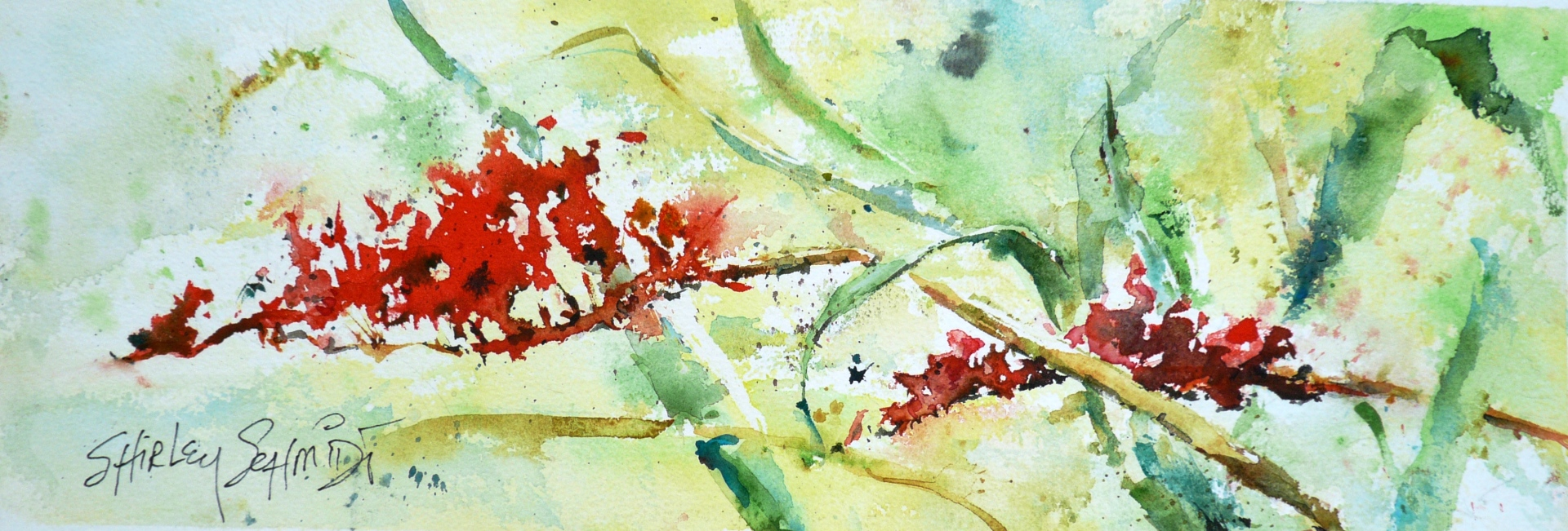 watercolor painting of red spear-like crocosmia flowers