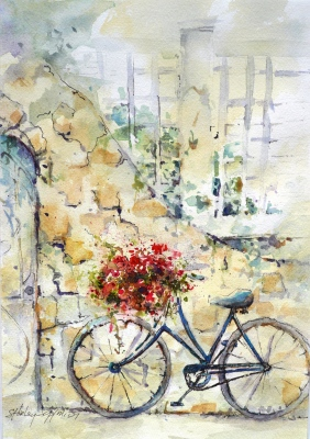 watercolor painting of a bicycle with a large basket of flowers in front leaning against an old stone wall next to an arched doorway