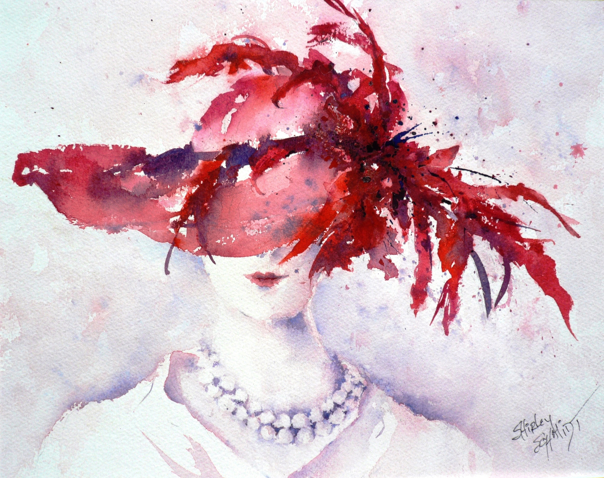watercolor painting of a woman in a pearl necklace with a beauty mark whose face is mostly hidded by the the large red hat with feathers in it that she is wearing