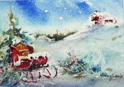 watercolor painting of a santa sleigh in snow with a hill and pine tree in the background