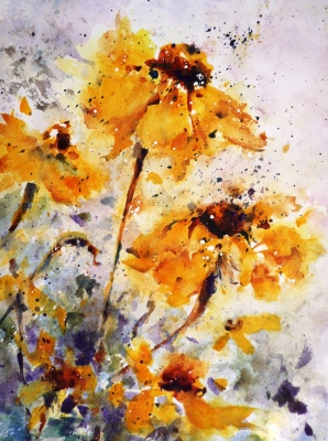 watercolor painting of four big beautiful sunflowers in a field of wildflowers