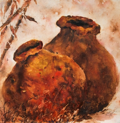 watercolor painting of two clay pots in Antigua Guatemala