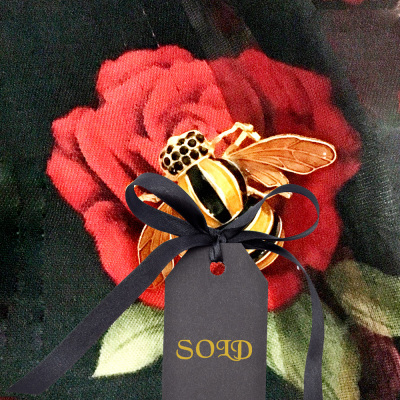Gold Tone and Striped Enamel Bee Pin $15
