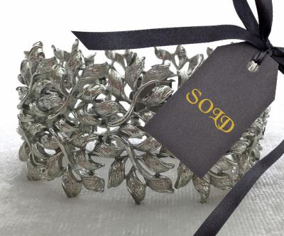 Coro Bracelet with Silver Tone Leaf Design $20