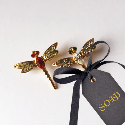 Gold Tone Dragonfly Pins with Rhinestone Wings $25