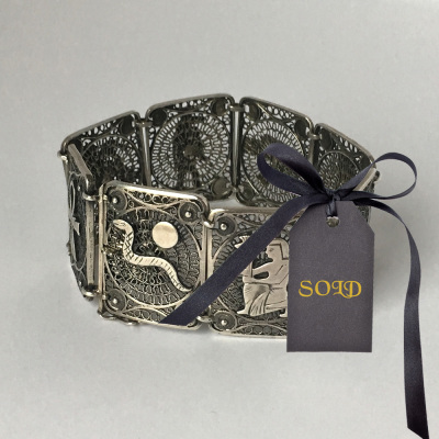 Egyptian Revival Silver Filigree Panel Bracelet $90