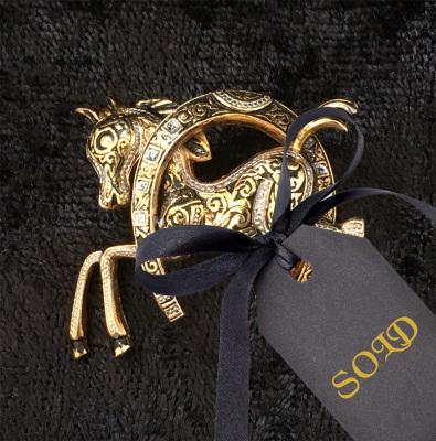 Vintage Damascene Lucky Horse Brooch $10