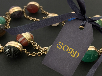 WRE Gold Filled Double Scarab Necklace