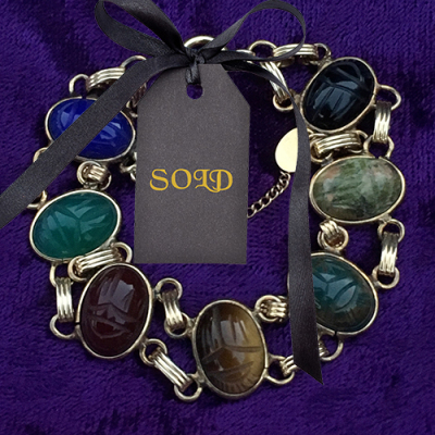 Vintage Scarab Bracelet ∙ Egyptian Revival ∙ 12K Gold Filled ∙ Signed Burt Cassell