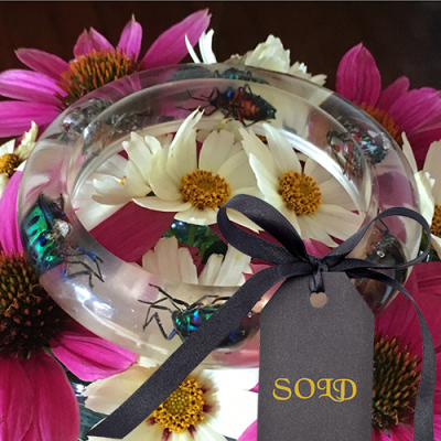 Lucite Bangle with Metallic Shield Bugs