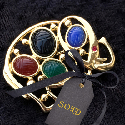 Elephant Scarab Pin