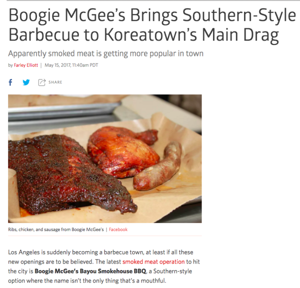 EATER - click here for full story Boogie McGee's Brings Southern-Style to Koreatown's Main Drag