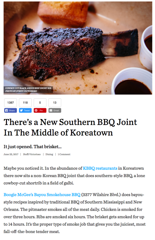 Los Angeles Magazine - click here for full story of KBBQ restaurant in Koreatown with southern-style BBQ a lone cowboy-cut shortrib in a field of galbi.