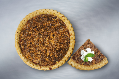 Pecan Pie - Pecan nuts mixed with a filling of eggs, butter, and sugar.