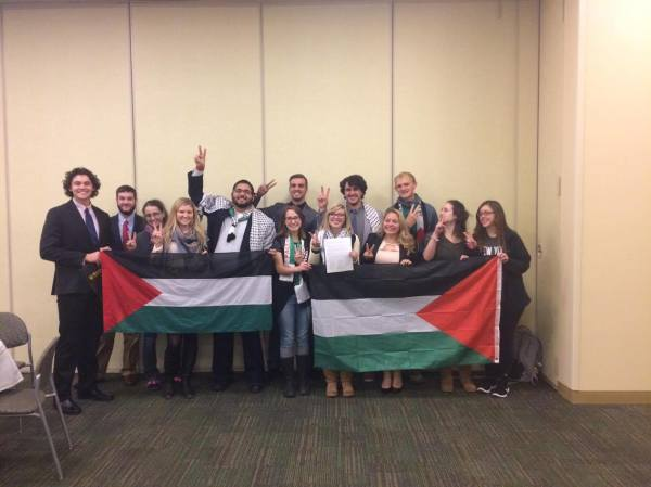 SJPers and Solidarity Senators after the vote in support of BDS