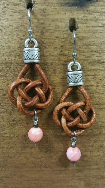 Knotted Brown Pink Shell Earrings