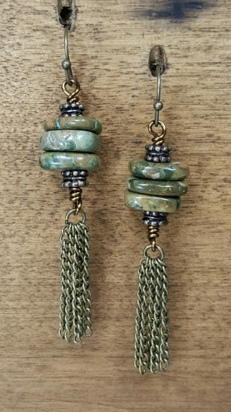 Stacked Green Jasper Earrings