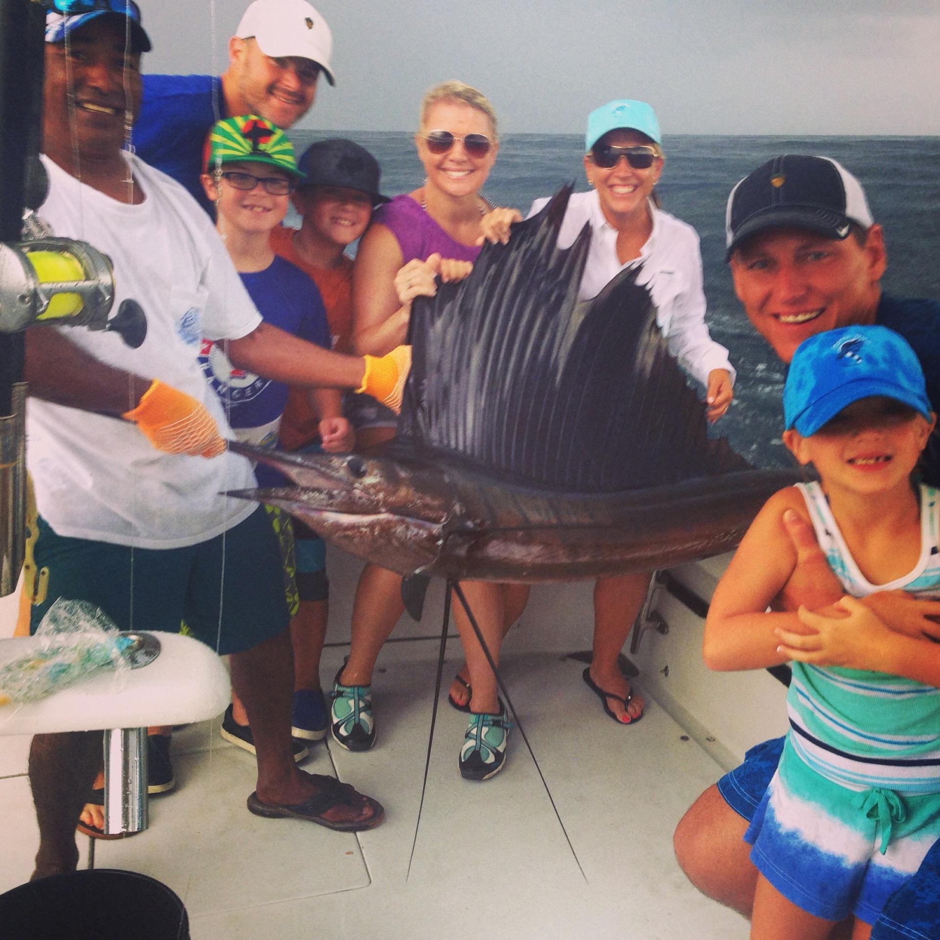 Deep sea fishing and we got lucky.