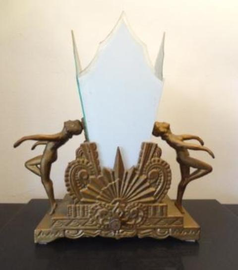 Beautiful art deco zig-zag figural lamp USA ca.1927-29