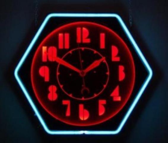 """Machine age Colorlite """"hex"""" neon clock ca. 1937"""