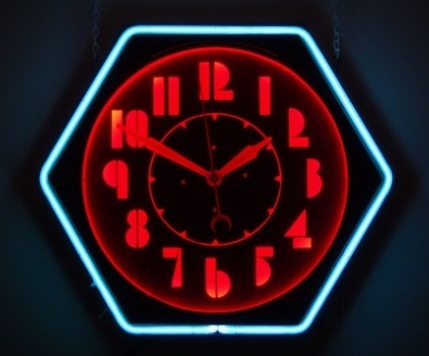 "Machine age Colorlite ""hex"" neon clock ca. 1937"
