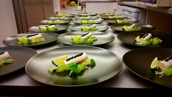 Fine Dining Smoked Trout Cheesecake, Caviar, Cucumber, Watercress, Lime Wedge