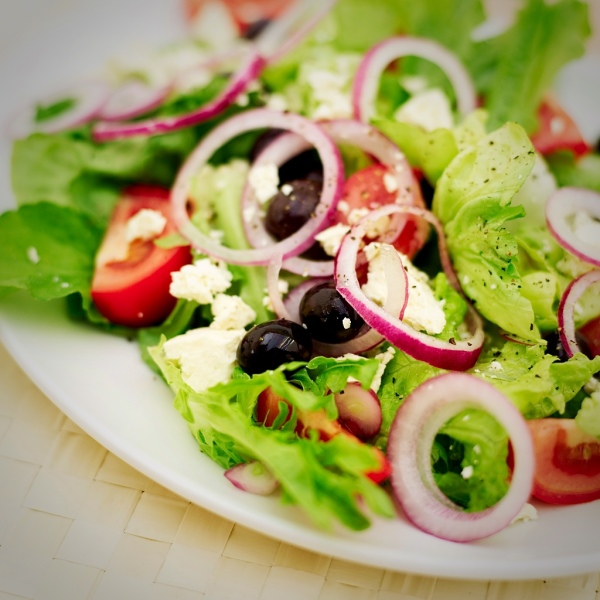 Informal Dining - Greek Feta Salad, Olives, Red Onions, Tomatoes, Radishes