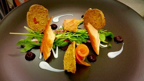 Flaked Salmon, Beetroot, Creme Fraiche, Mixed Leaf Lunch