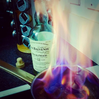 Flambeed Balvenie Whisky for Peppercorn Sauce