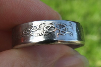 Large Celtic coin ring