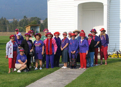 "The ""Red Hats"" on a tour of Historic St. Mary's Mission"