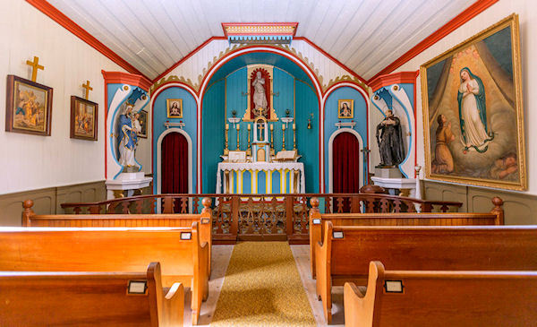 The colorful interior of Historic St. Mary's Chapel.