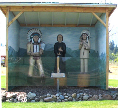 Diorama of Chief Big Face, Fr. De Smet and Chief Victor