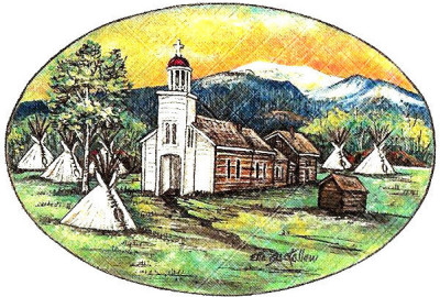 Drawing of the Historic Chapel, Fr. Ravalli's Cabin and Salish lodges by Ella Buckallew