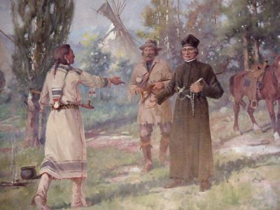Salish greeting Fr. Ravalli by Edgar Paxson