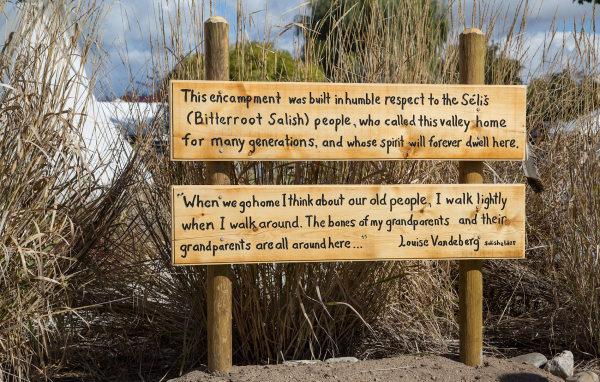 Dedication sign for the Salish encampment