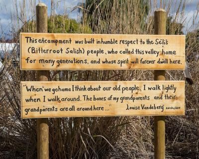 Sign dedicating the Salish Encampment