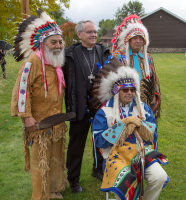 Salish Elders Victor Charlo, Kenny McClue and Bud Lozar and Bishop George Leo Thomas