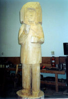 Carving of Chief Victor underway